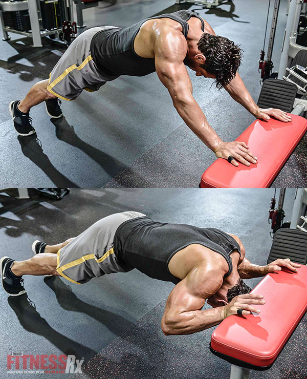 Blast Your Arms With HIRT! - Bench push-up triceps extensions