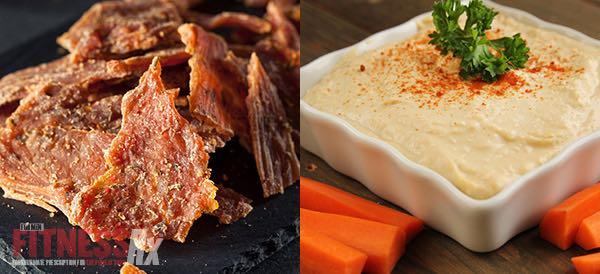 Turkey Jerky and Carrots and Hummus